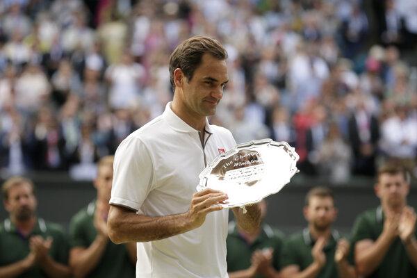 Roger Federer po neúspešnom finále Wimbledonu 2019, v ktorom prehral s Novakom Djokovičom.