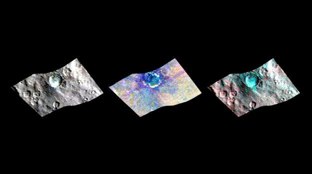 Kráter Haulani vo falošných farbách.
