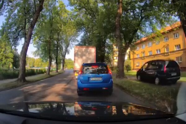 Auto si skrátilo cestu po chodníku.