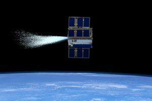 Umelecké zobrazenie malej družice, ktorá použila vodu ako pohon.