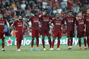 Hráči FC Liverpool počas penaltového rozstrelu.