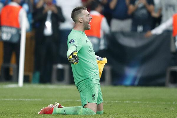 Brankár FC Liverpool Adrian po výhre v Superpohári UEFA 2019 proti Chelsea Londýn.