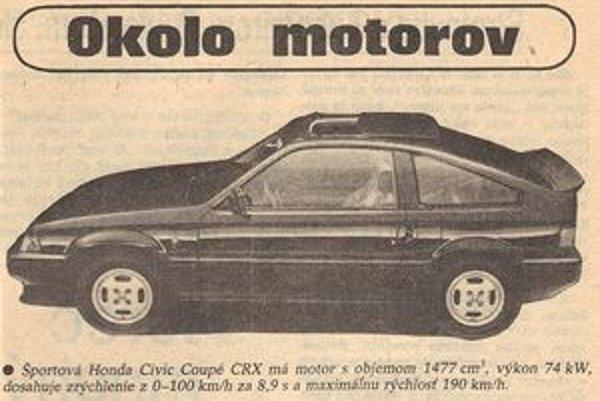 Pri pohľade na parametre Hondy CRX sa zdá, že zastal čas. Novinka roka 1985 by sa výkonmi nestratila medzi dnešnými autami. Zároveň je to dôkaz, že vtedajšie autá boli ľahšie a na výbornú dynamiku im stačil nižší výkon. Napokon, motor s objemom 1,5 litra