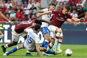 Zápas AC Miláno a Brescia.