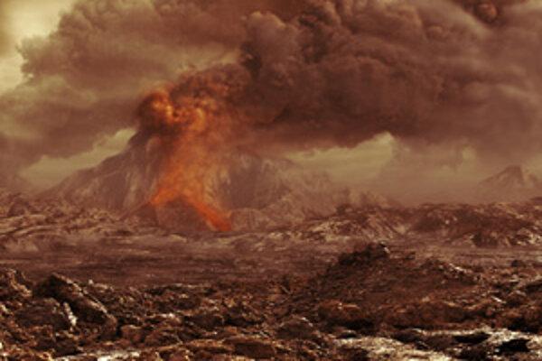 Nepokojný povrch Venuše v predstave umelca. Vzniká tu oxid uhličitý, ktorý slnečné žiarenie rozkladá na molekuly kyslíka, z ktorých sa tvorí ozón.