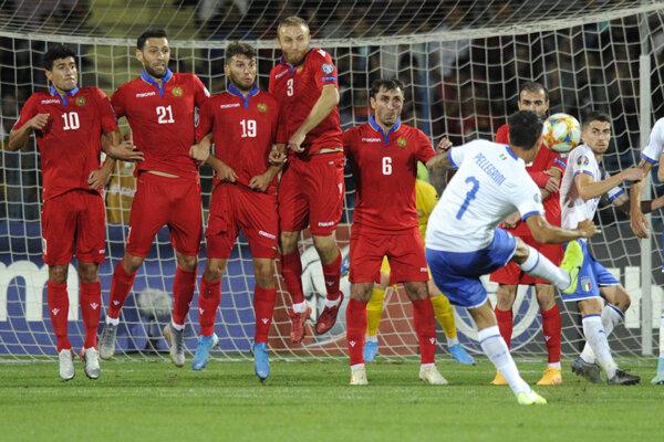 Momentka zo zápasu Arménsko - Taliansko v kvalifikácii EURO 2020.