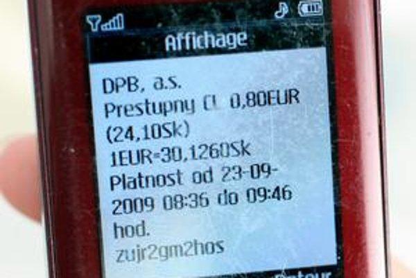 SMS lístok funguje v Bratislave už takmer rok.