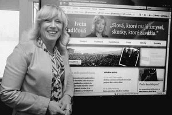 Iveta Radičová sa už internetovej stránky dočkala.