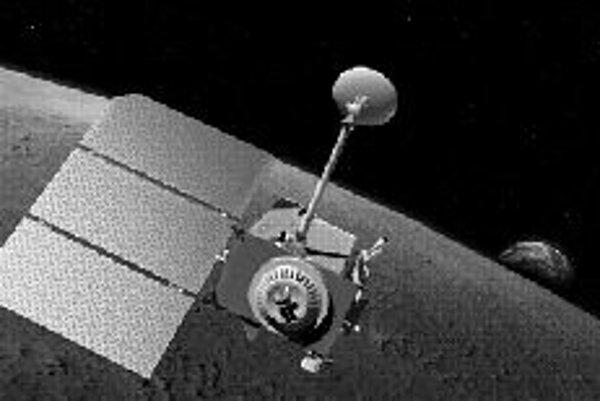 Umelecká vízia sondy LRO na orbite okolo Mesiaca, vpravo v pozadí vychádza za okrajom Mesiaca naša Zem. Ilustrácia - NASA