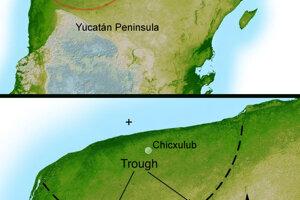 Obrázok ukazuje náznaky krátera Chicxulub. Väčšina vedcov sa zhoduje, že dopad asteroidu spôsobil vymieranie na konci kriedy.