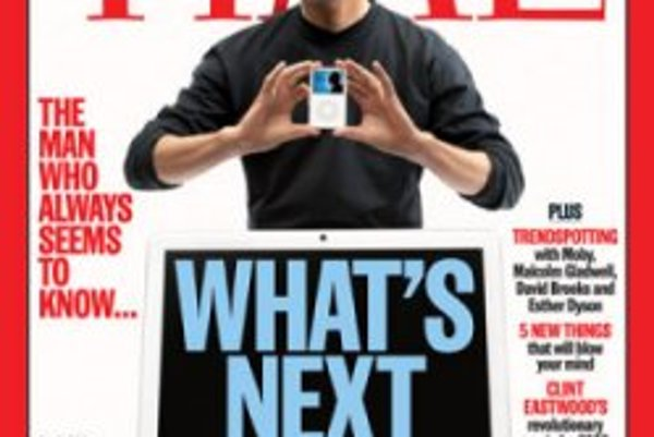 Steve Jobs, šéf Apple na titulke magazínu Time.