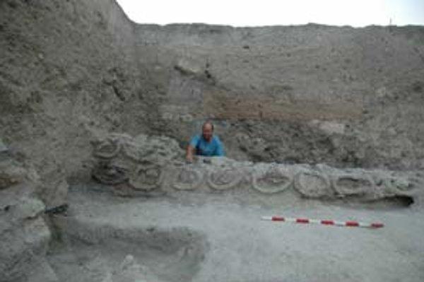 Vedúci vykopávok v Tel Rehove Amihai Mazar za radom objavených úľov.