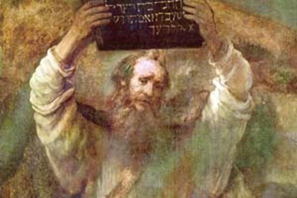 Mojžiš rozbíja kamenné dosky s Desatorom v rozhorčení nad svojím ľudom, ktorý si počas jeho neprítomnosti zhotovil zlaté teľa.