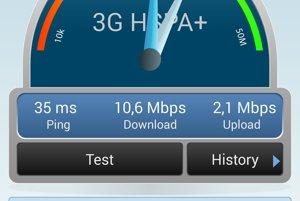 Na porovnanie, meranie s tým istým zariadením a na tom istom mieste. V 3G sieti s technológiou HSPA+ sme namerali rýchlosť päť až deväťkrát nižšiu ako v 4G sieti, mierne pomalšia bola v 3G sieti aj odozva (35 milisekúnd oproti 25/27 v 4G sieti).