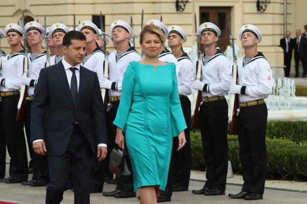 Prezident Ukrajiny Volodymyr Oleksandrovyč Zelenskyj a prezidentka SR Zuzana Čaputová.