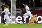 Momentka zo zápasu Paríž Saint-Germain - Real Madrid.