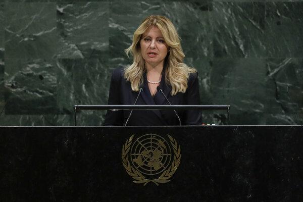 Slovenská prezidentka Zuzana Čaputová reční na Vaľnom zhromaždení OSN.