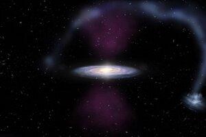 Umelecká predstava o explózii ionizujúceho žiarenia, ktoré sa zo stredu galaxie šírilo v tvare kužela. Ovplyvnila aj Magellanov prúd plynu približne dvestotisíc svetelných rokov ďaleko.
