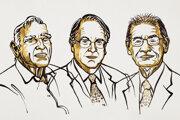 Laureáti Nobelovej ceny za chémiu za rok 2019. Zľava: John B. Goodenough, M. Stanley Whittingham, Akira Jošino