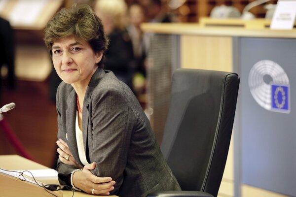 Dezignovaná eurokomisárka pre vnútorný trh Market Sylvie Goulardová z Francúzska počas vypočúvania 10. októbra 2019 v Bruseli.