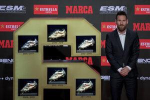 Lionel Messi počas prebratia šiestej Zlatej kopačky.