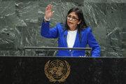 Venezuelská viceprezidentka Delcy Rodríguezová na Vaľnom zhromaždení OSN.