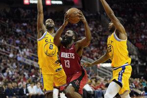 James Harden (13) v zápase základnej časti NBA 2019/2020 Houston Rockets - Golden State Warriors.