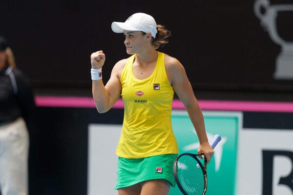 Ashleigh Bartyová počas finále Pohára federácie 2019 Austrália - Francúzsko.