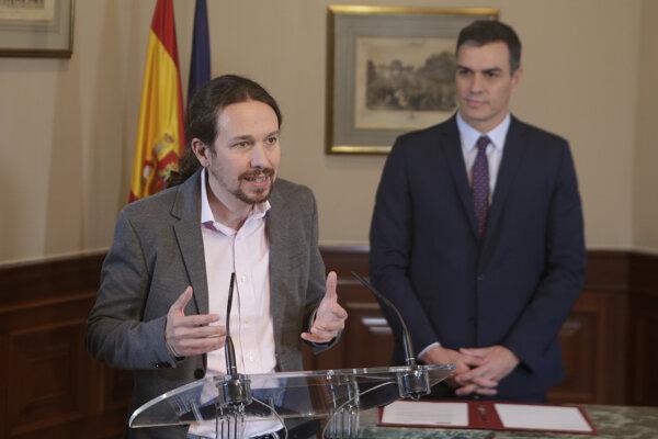 Premiér Pedro Sánchez a líder UP Pablo Iglesias.