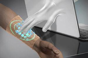 Ilustrácia virtuálneho dotyku skrz umelú kožu.