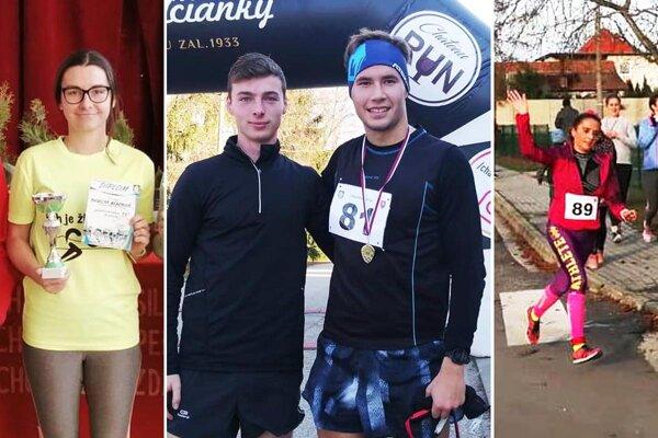 Štyri víťazi behu - zľava Angelika Béberová, Adam Kĺbik, Matúš Verbovský a Katarína Sládečková.