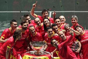 Víťazný španielsky daviscupový tím.