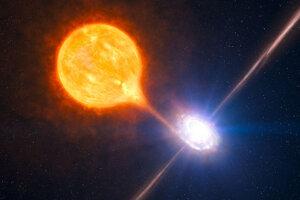 Hviezdna čierna diera (ilustrácia) vzniká gravitačným kolapsom hviezdy. Má hmotnosť od piatich do niekoľkých desiatok hmotností Slnka.