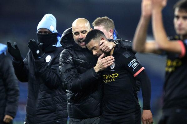 Pep Guardiola a Gabriel Jesus po zápase v Burnley