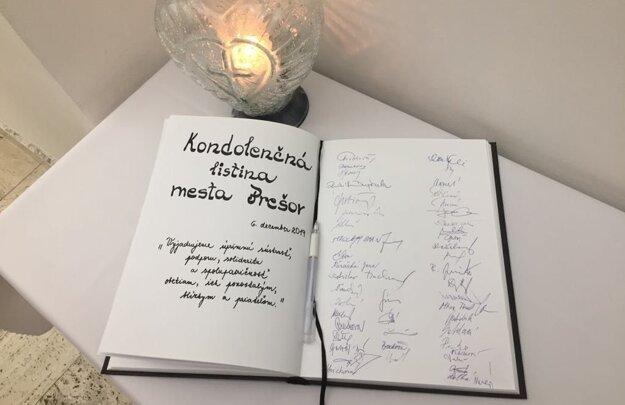 Kondolenčná listina mesta Prešov.