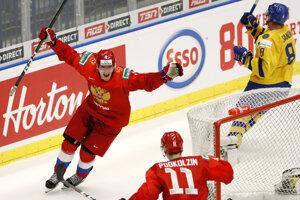 Radosť Rusov po strelenom góle v predĺžení v semifinále MS v hokeji do 20 rokov 2020 Švédsko - Rusko.