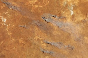 Satelitný záber požiarov v novembri 2019 na juhu Západnej Austrálie. Silu požiarov zvýšilo dlhodobé sucho, ktoré trvalo počas zimy a jari.