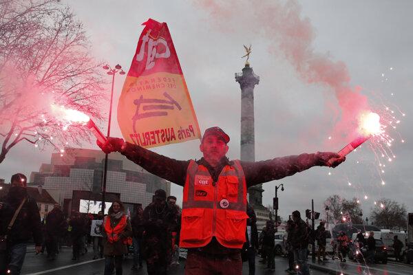 Francúzi pokračujú v protestoch.