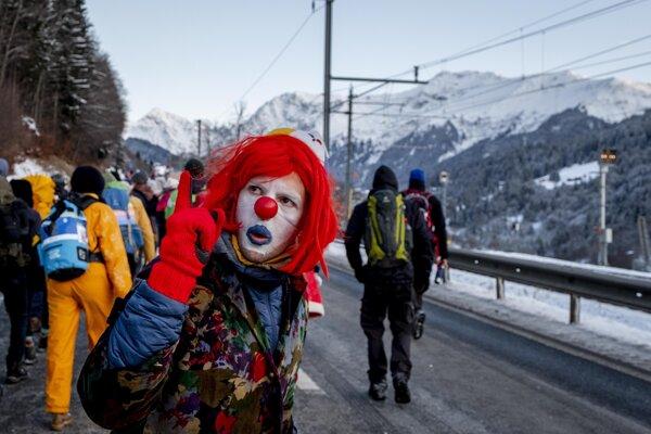 Ekologickí aktivisti v Davose.