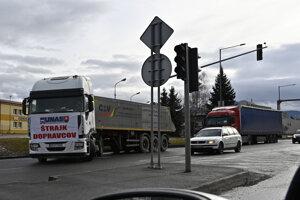 Štrajk autodopravcov v Ružomberku.