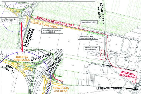 Trasa budúcej novej prístupovej komunikácie aj úpravy križovatiek (žltá farba) a budúcej električkovej trate na letisko (červená farba).