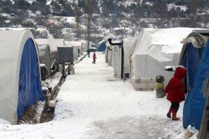 Tábor pre vysídlených ľudí v blízkosti hraníc s Tureckom 13. februára 2020.