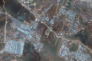 Satelitná snímka ukazuje oblasť blízko mesta Deir Hassan na severe Sýrie blízko hraníc s Tureckom 16. februára 2020.