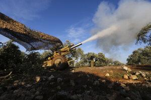 Mínometná paľba tureckej armády v Idlibe.