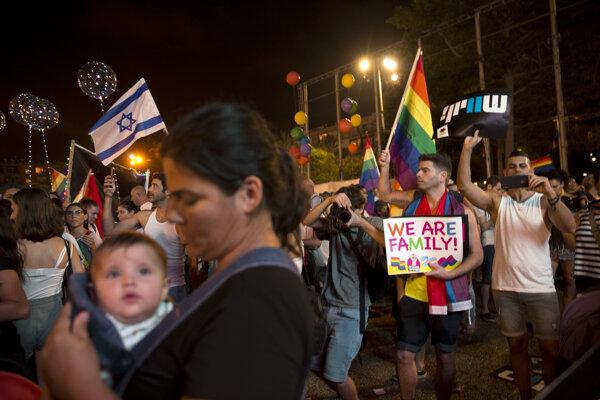 Demonštrácia LGBTI komunity v Tel Avive.