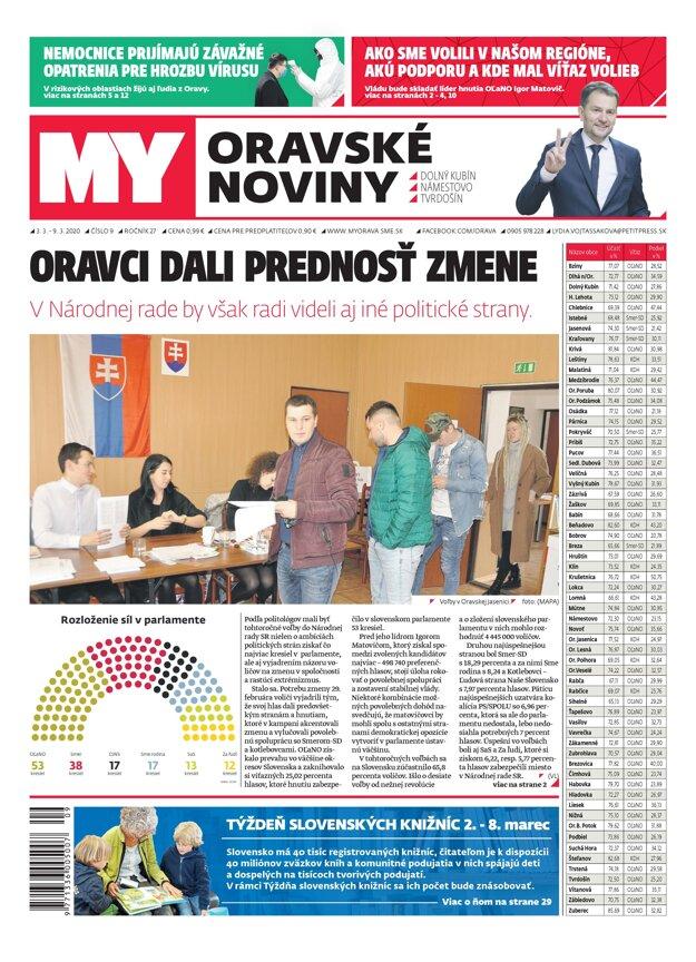Titulka povolebného vydania MY Oravských novín.