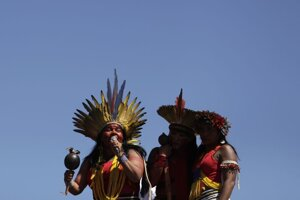 vľavo vodkyňa brazílskeho domorodého kmeňa Guajajara Sonia reční počas pochodu domorodcom v metropole Brazílii 13. augusta 2019.