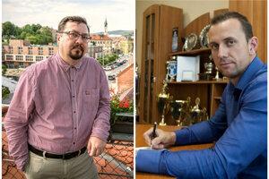 Viceprimátor Nitry Daniel Balko (vľavo) a riaditeľ HK Nitra Miroslav Kováčik.