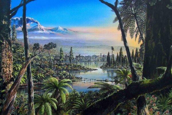 Umelecká predstava o miernom ihličnatom dažďovom lese, ktorý bol pred 90 miliónmi v Antarktíde.