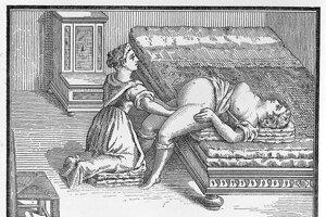 Zobrazenie pôrodu v 16. storočí.